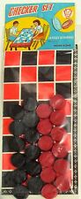 VINTAGE DIME STORE TOY CHECKERS SET Made in HONG KONG 1950-60's New Old Stock