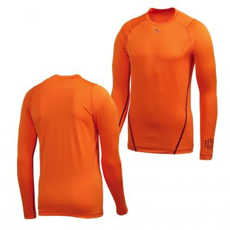 Puma New Men Monoline Long Sleeve Vibrant orange Tee Size XL