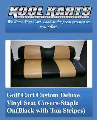 EZ-GO TXT Golf Cart Front Seat Replacement & Custom Deluxe Covers Set(Black/Tan)