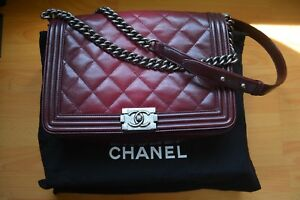 Chanel-Burgundy-Ombre-Goatskin-Leather-Quilted-Large-Boy-Flap-Handbag-Authentic