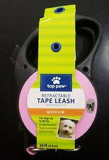 Top Paw Retractable Tape Dog Leash Medium 16ft Pink up to 80 Lbs