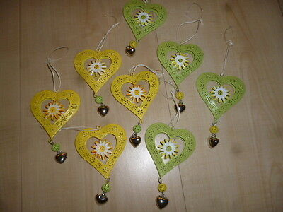4-er Set Metallherzen in gelb und grün,Herz,Herzen,Metall,Blech,Deko,Metallherz,