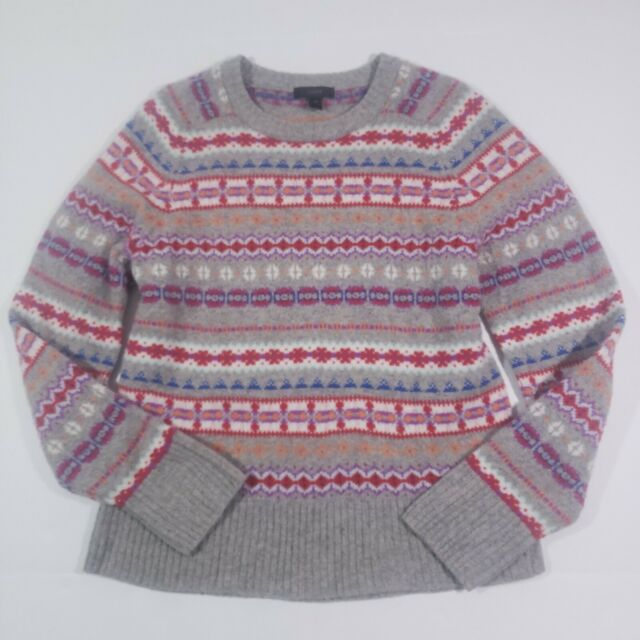 J. Crew Fair Isle Wool Sweater Gray Size Medium