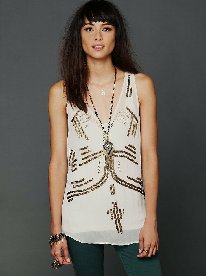 NWT Free People Follow My Lead Beaded Tank Sheer Racerback Top Sz XSmall