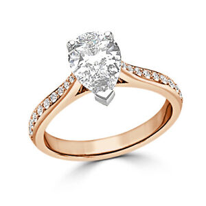 2.40 Ct Pear Cut Genuine Moissanite Wedding Ring 14K Solid Rose Gold Size 4.5