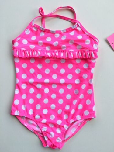 Girls 1 Piece Pink Swimmers Swimsuit Polka Dot Bathers Sizes 6,8,10