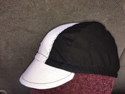 CYCLING CAP ONE SIZE COLOR BLACK /& WHITE   100/% COTTON