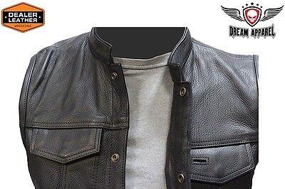 Dream Apparel Mens Leather Vest With Concealed Carry Pocket /& Black Liner MV320-11-50
