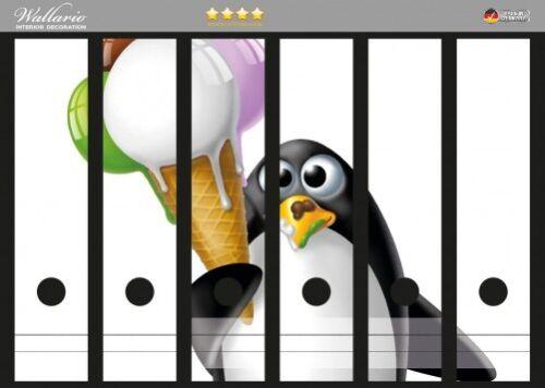Wallario Ordnerrücken selbstklebend für 6 breite Ordner Süßes Eis Pinguin