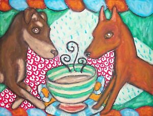 MINIATURE-PINSCHER-Drinking-Coffee-Min-Pin-Dog-Vintage-Art-Print-8-x-10-Signed