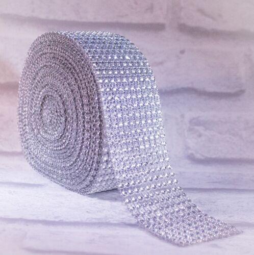 Diamante Effect Silver Ribbon Trim For Cake Bridal Wedding Craft 10 Rows 50mm
