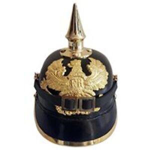 WW1-WW2-German-Leather-Pickelhaube-Helmet-Prussian-Helmet-Spiked-Officer-helmet