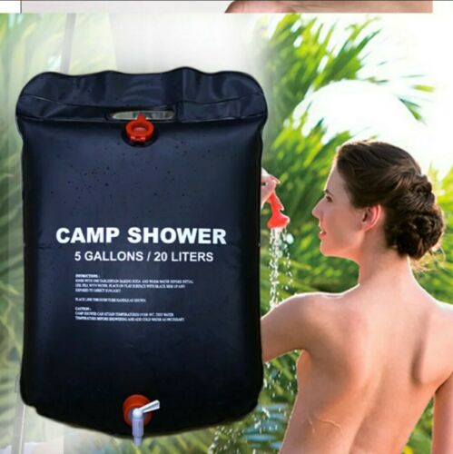 5 Gallon Camping Solar Shower Bag Outdoor Heated Portable Travel Camp 20L