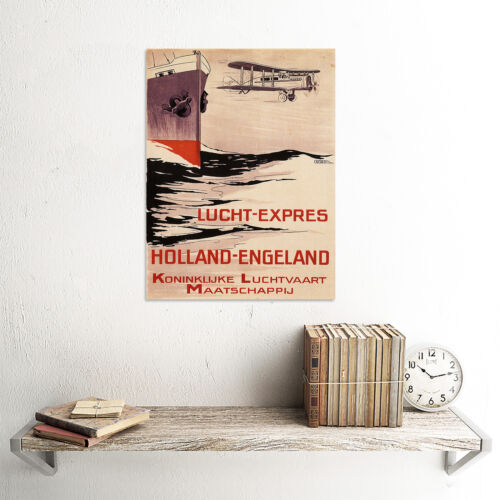 TRAVEL TOURISM FLIGHT HOLLAND ENGLAND BIPLANE ROYAL DUTCH VINTAGE POSTER 2357PY