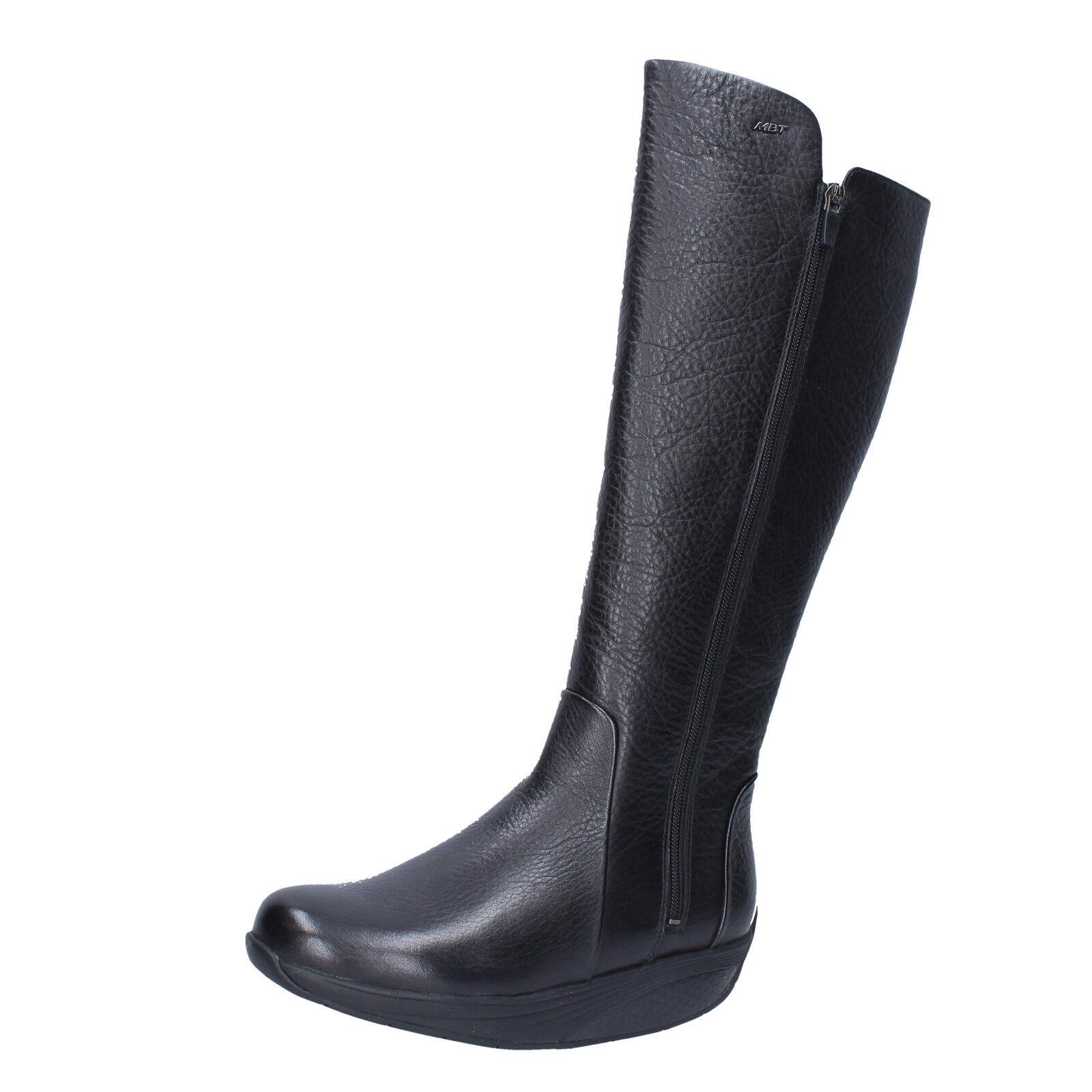 Para Rendimiento mujeres Zapatos MBT 3,5  Botas Rendimiento Para De Cuero Negro BT290-36 f8d2f4