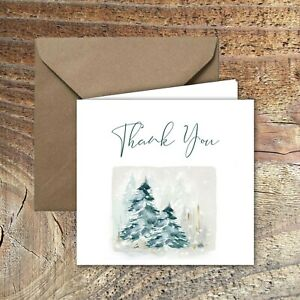 CHRISTMAS-THANK-YOU-CARDS-Snowy-Woods-DESIGN-PACK-OF-5
