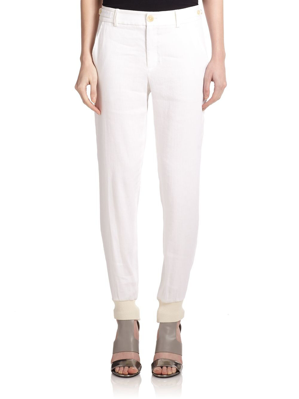 NWT  295 Vince Linen Blend Jogger Pants In White Size 0