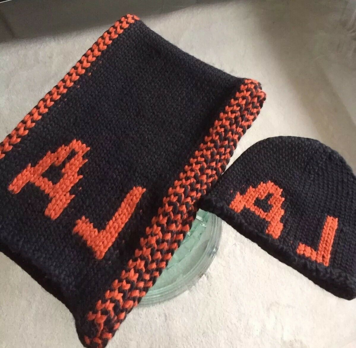 Armani Jeans Black/Orange Hat and Scarf Set (Brand New)