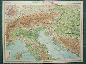 Map Of Northern Italy And Austria.1921 Large Map Northern Italy Austria Vienna City Environs Bosnia