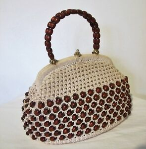 BAG-Genuine-1950s-60s-VINTAGE-Beige-Crochet-Brown-Wooden-Beads-Top-handle-Purse