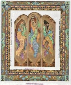 1-24-scale-Natasha-Beshenkovsky-039-s-Mini-Decoupage-Screen-in-Art-Nouveau-1-2-034