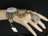 Women Antique Gold Slave Bracelet Rhinestones Big Circle Small Flowers Ring