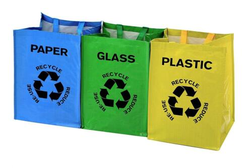 Durable Housewares Recycle Carry Bags x 3 Multi-Coloured Strong Recyling Rubbish