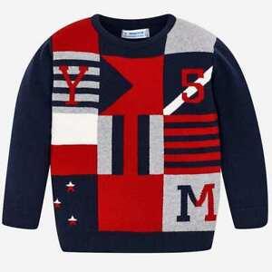 nuovo arrivo vari tipi di Raccogliere Dettagli su maglia maglioncino maglione golfino pullover quadri rosso blu  bambino mayoral