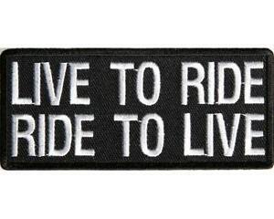 LIVE TO RIDE PATCH 4 BIKIE BIKER VEST SCOOTER BIKE MOTORCYCLE RIDER HELMET GLOVE