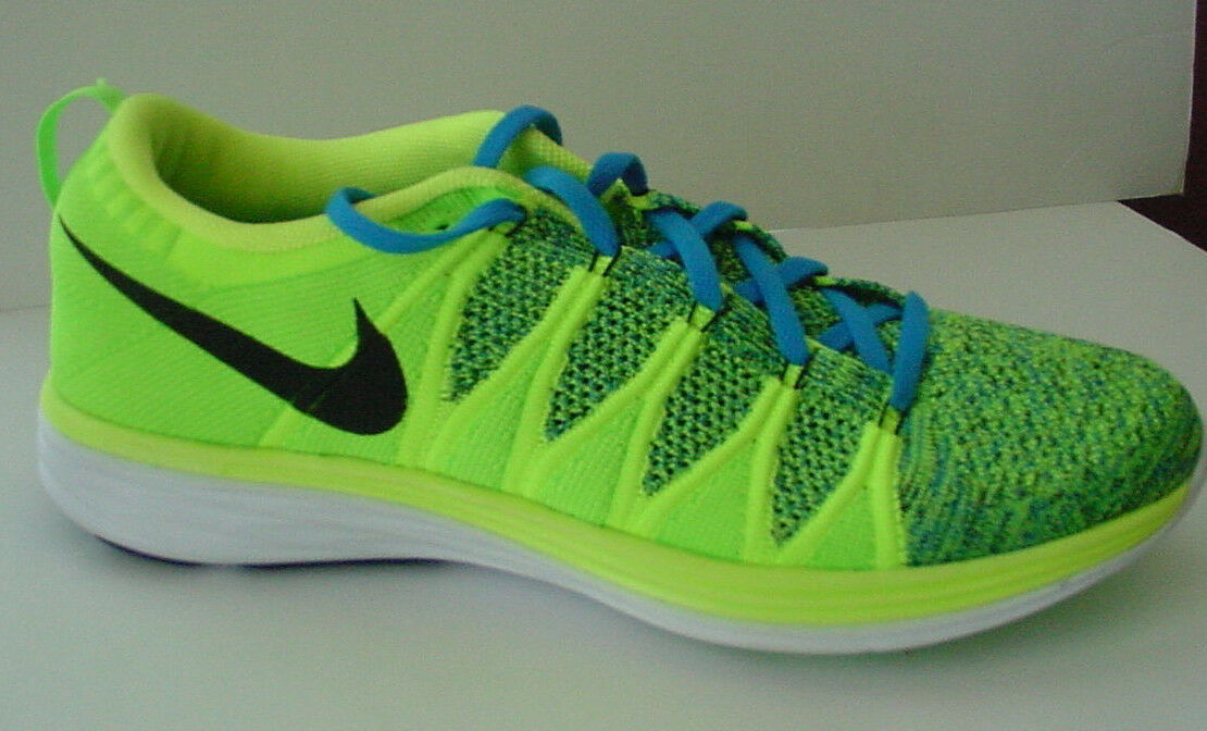 NIB no lid Nike Flyknit Lunar2 Running Shoe 620465-701 Neon Yellow MENS Sz 11.5