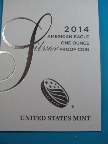 ES1 2014-W PROOF AMERICAN SILVER EAGLE ONE OUNCE COIN ORIGINAL US MINT BOX/&COA