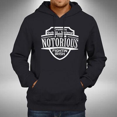 Conor Notorious McGregor King  Gray Hoodie Pullover Irish Pride  MMA Champ