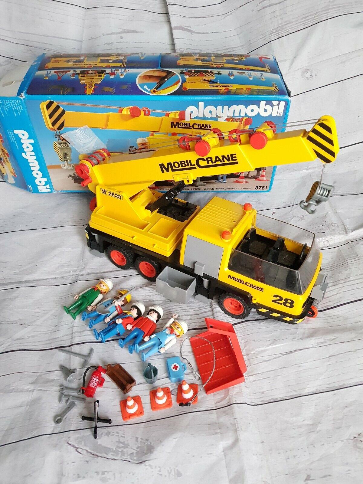 PLAYMOBIL VINTAGE 1974 Gru mobile 3761 RARO con accessori e le figure in buonissima condizione