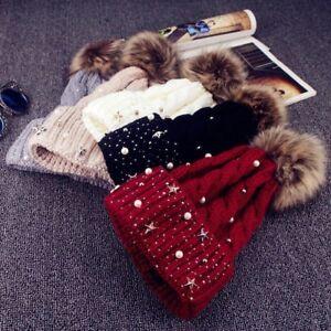 Casquette-Coton-cheveux-Faux-Fourrure-Ball-Bonnet-Hiver-Chaud-Tricote-Chapeau