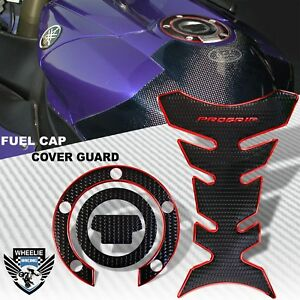 CHROMED RED&BLACK PRO GRIP FUEL TANK PAD+GAS CAP COVER FOR