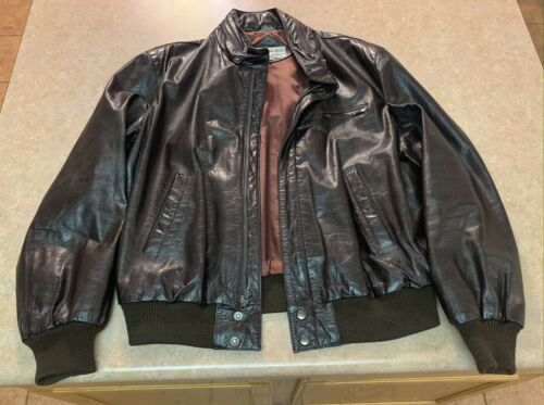 Vintage Members Only Leather Jacket Size 46