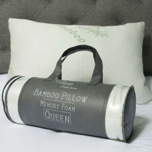 Sweet Home Collection Hypoallergenic Bamboo Memory Foam Pillow Queen w//Carry Bag