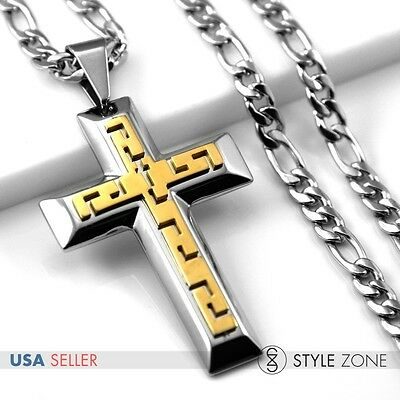Men's 3D Gold Tone Stainless Steel Thick Cross Pendant Figaro Chain Necklace 5C