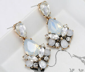 1-Pair-Elegant-White-Crystal-Rhinestone-Ear-Drop-Dangle-Stud-long-Earrings-153