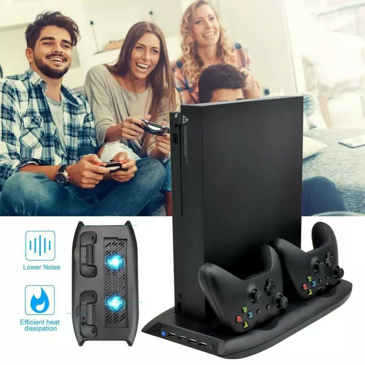 For PS4 Vertical Stand + Cooling Fan Controller Charging Dock Station Stand