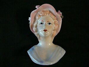 "Vintage Porcelain Head Vase, Lady Blue Dress w/Pink Hat & Flowers, 5"" Tall"