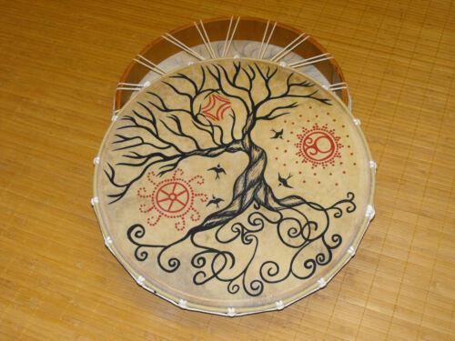 bemalte Schamanen Rahmentrommel Motiv LebensbaumTrommel mit Griffkreuz 50 cm
