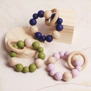 Natural-Wood-Ring-Silicone-Beads-Baby-Teether-Bracelet-Stroller-Rattle-Pram-Toys