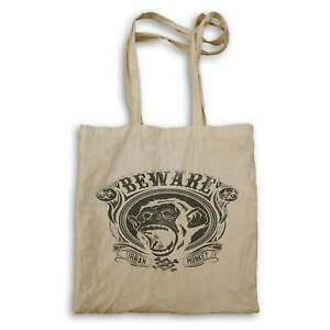 Beware Urban Monkey Angry Animal Retro In White And Black Tote bag hh766r