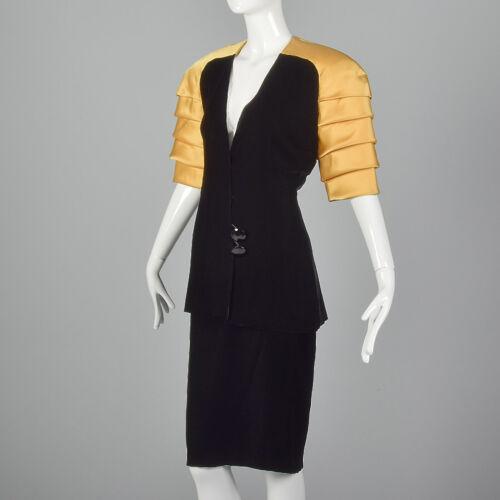 1980s Zwart M 80s Kokerrok set Luhn fluwelen Gouden Ingrid pak schouderjas dZZqgn1P