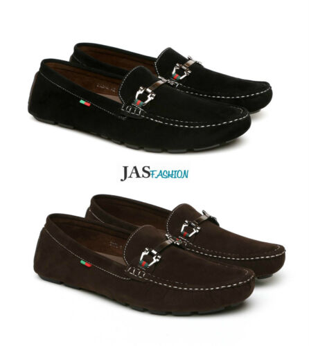 Mens Casual Slip on Shoes Smart Loafers Boat Deck Italian Style Buckle Moccasins