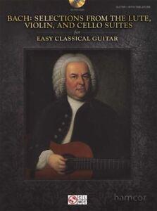 Bach Selections From Luth, Violon & Cello Suites Pour Facile Guitare Classique Livre-afficher Le Titre D'origine