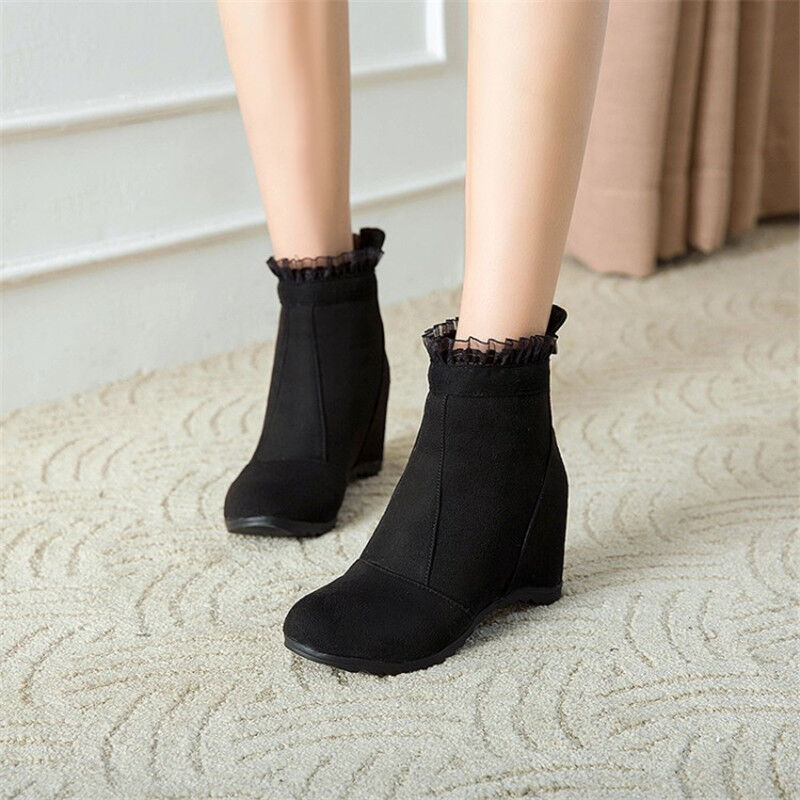 Womens Ankle Boots Hidden Wedge Heel Round Toe shoes Suede Booties Plus Size New