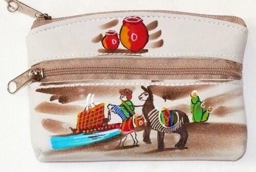 Chiave in Pelle Borsa A B Ande Inka indiani Perù folklore vitello dipinta in pelle