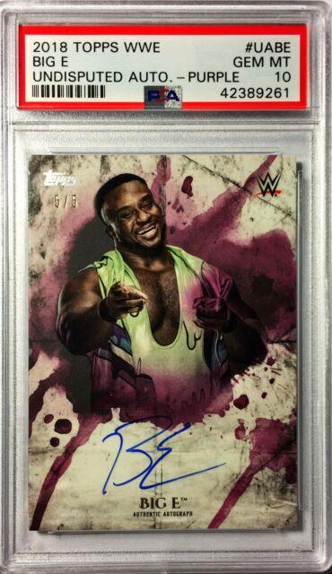 Big E 2018 Topps WWE Undisputed Autograph Purple #5/5 PSA 10 Gem Mint Auto